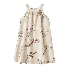 Wholesale Dresses Jumpsuits - 2017 INS baby girl toddler Big Kids Adults Summer clothes Beige Blue Rose Floral Dress Jumper Jumpsuits Halter Neck Sleeveless Vest Bow