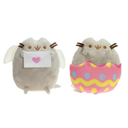 """Wholesale Eggshell Animal - New arrival 10pcs Lot 6"""" 15cm Pusheen With Heart logo Letter & with Eggshell Cat Plush Stuffed Animals Toys"""