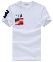 Polo classico adatto online-Abbigliamento di marca Polo Camicia USA Flag stampato Casual americano Homme per uomo Tee Shirt Top in cotone di alta qualità Slim Fit T-shirt classiche