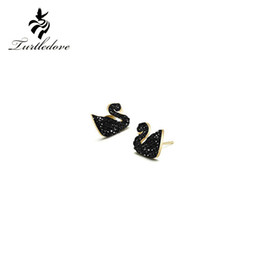 Wholesale Summer Studs Earrings - Turtledove 2017 new summer earrings stud earrings Temperament Elegant Black Swan Earrings On formal occasions exemption from postage
