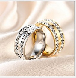 Wholesale Double Diamond Rings - The European and American titanium steel diamond ring wholesale han edition titanium steel jewelry double - ring diamond - grade stainless s