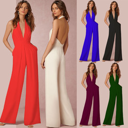 Wholesale One Piece Romper Woman - Plus size jumpsuits for women spring and autumn casual jumpsuit women one piece pants jumpsuits rompers sexy sleeveless hanging neck romper