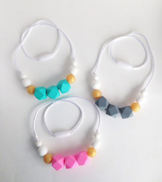 Wholesale Round Gray Beads - Silicone Teething Beads Food Grade Silicone Teethers Colorful Teething Necklace Hexagon Round Beads Nursing Necklace Baby Chewable Jewelry