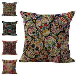 Wholesale Wholesale Cushions Skull - Hallowmas Sugar Skull Pillow Case Cushion cover Linen Cotton Throw Pillowcases sofa Bed Pillow covers free shipping