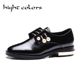 Wholesale Charming Black Men Dress Shoes - Wholesale- 2017 Ladies Vintage Slip On Oxford Shoes With Charms Fashion Preppy Style Pointed Toe Pearl Flats Shoes For Women Black White