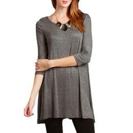 Wholesale Long Tunic Shirt Wholesale - Wholesale- Autumn Women 3 4 Sleeve Sleeve Cotton Tees Tunic Long T-shirts Casual Loose O-neck Tops Plus Size