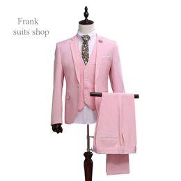 Wholesale Mens Dinner Suits - Wholesale- 2016 Men Slim Fit Pink Suit Wedding Groom Mens Prom Suits With Pants Party Dinner Tuxedos For Men ( jacket+Pants++vest+tie)