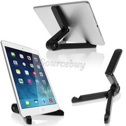 Wholesale Tablet Pc Tripod Mount - Universal Adjustable Fold-Up mobile phones Stands Mount Holder Tripod Cradle for iPad 2 3 4 5 Mini Air 7-10 inch Tablet PC Bracket