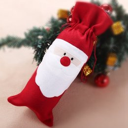 Wholesale Tableware For Camping - Christmas Tableware Red Santa Claus Ornaments Xmas Wine Bottle Covers Bag Dinner Table Decor for Home Party