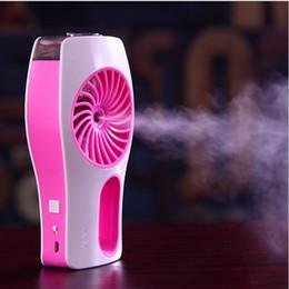 Wholesale Electric Cartoon Fans - ortable USB rechargeable fan with ultrasonic humidifier mist maker mini electric air cooling fan plastic hand fan