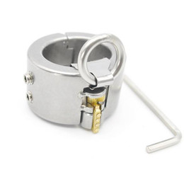 Wholesale Stainless Steel Scrotum Toys - Stainless Steel Teeth Spiked Extrusion Ball Stretcher Scrotum Locking With o-rings Sex Toys For Men Chastity Cock Ring With NEW Lock