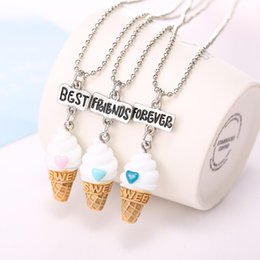 Wholesale Ice Resin - 20 Sets Lot 3 Pcs Set Best Friends BFF resin ice-cream pendant bead chain necklace,3 colors lead nickel cadmium free kids jewelry