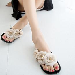 Wholesale Wholesale T Strap Shoes - 2017 New Summer Big Camellia Women Sandals Female Flip Flops Low Flat Shoes 5 colors Available