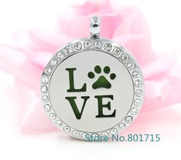 Wholesale Tin Perfume - Round Silver Love paw (30mm) Aromatherapy   Essential Oils Alloy frame with Stainless Steel Face Perfume Diffuser Locket XX010