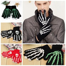 Wholesale Skeleton Full Finger Gloves - Skeleton Touch Screen Gloves Halloween Smart Phone Tablet Touch Screen Gloves Winter Mittens Warm Full Finger Skull Gloves 4 Styles OOA2961