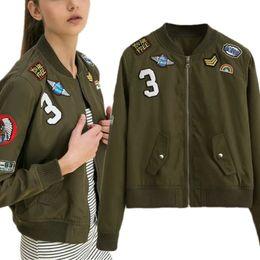 En gros-Mode Armée Vert Femmes Bomber Vestes Manteau Femme Vol Costume Casual Imprimer Veste Brodé Patches Femmes De Base CoatsLQ ? partir de fabricateur