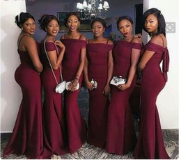 Wholesale Girls Stretch Lace Dress - Custom Sheath Black Girl Stretch Satin Cheap 2017 Bridesmaid Dresses Sexy long Sleeve Cheap Party Evening Dresses 2018