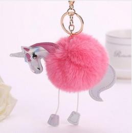 Wholesale Horse Pony Pendant - Cute Fluffy Unicorn Keychain Faux Rabbit Fur Ball Pom Pom Key Chains Bag Charms Trinket Pony Car Key Ring Horse Keychains Handbag Pendant