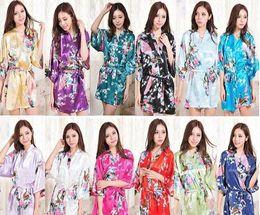 Wholesale Satin Night Gowns For Women - Hot Sale Silk Satin Wedding Bride Bridesmaid Robe Short Kimono Night Robe Floral Bathrobe Peignoir Femme Fashion Dressing Gown For Women