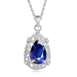 Wholesale Zircon Gemstone Necklace - Hot Sale The New Water Drop-Shaped Sapphire Pendant Necklace Women Beautiful Party Accessories Inlaid Zircon Jewelry Blue Gemstone Necklace
