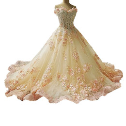 Wholesale Love Lace Dress - Vintage Royal Court Ball Gown Luxury Wedding Dresses Love Bridal Colorful Wedding Gowns Dubai Abaya Ruffles Flowers Appliqued