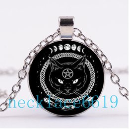Wholesale Wicca Charms - 10Pcs Pentagram Black Cat Wicca Necklace,Pendant,Christmas Gift,birthday Gift,Cabochon Glass Necklace,silver black Jewelry R-973