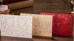 Wholesale Invitations Cards Rsvp - 2017 New RSVP Card Laser Cut Wedding Invitations Lace Card With Envelope Provide Free Printing Shipped By UPS