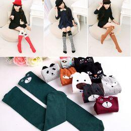 Wholesale Girls Cartoon Socks - Wholesale- 3-12 Years Old Baby Kids Girls Knee High Socks Tights Cartoon Animal Leg Warmer Stockings E7985