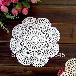 Wholesale Free Crochet Doilies - Wholesale- Free shipping cotton hand made Colorful Doily mats Crochet cup mat ,cup pad,coaster 20X20CM round 20PCS LOT CD020
