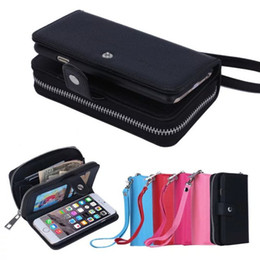 Wholesale Wallet Zip For Iphone - Multi-function Zip Zipper Leather Wallet Case With Card Pouch 2 in1 Removable PU Cover Cases For iPhone 7 5S 6S Plus Galaxy S7
