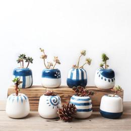 Wholesale Planter Set - 8pcs set Original Design Mini Ceramic Succulent Plant Pot Handmade Porcelain Planter Home Decor Flower Pot Bonsai Planter Vase 72