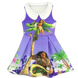 Wholesale Wholesale Blue Ruffle Skirt - 2017 Kids Clothing summer dress, Moana fold sleeveless girl skirt dress Girl's Dresses