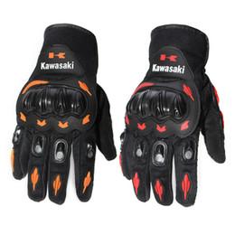 Wholesale Motorbike Protective Gear - Kawasaki Full Finger Guantes Motorcycle Gloves Red Orange Colors Motorbike Motocross Motos Protective Gears Glove M - XXL Size