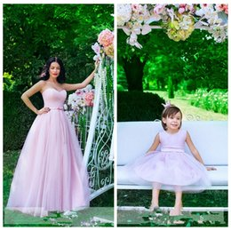 Wholesale Made Match Ribbon - 2017 Sweetheart A-Line Tulle Pink Best Matching Parent-Child Dress Mother And Daughter Evening Party Gowns Customized Prom Vestidos De Dress