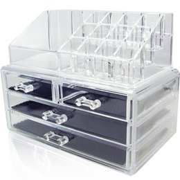 Wholesale Drawer Organizer Acrylic Box - Acrylic Cosmetic Makeup Organizer Jewelry Display Boxes Bathroom Storage Case 2 Pieces Set W  4 Large Drawers