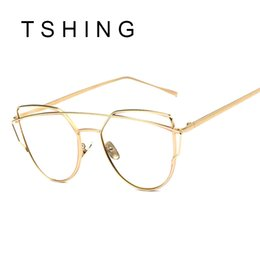 Wholesale Wholesale Frameless Mirrors - Wholesale-Women Cat eye Optical Glasses Frame 2016 New Brand Design Mirror Rose Gold Clear Cateye Sunglasses Fashion Vintage Lady Eyewear