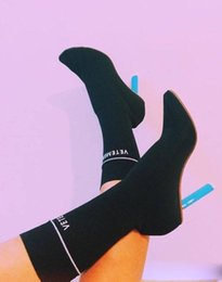 Wholesale Medium Jersey - Sexy vetement boots Lighter-Heel Stretch fabric Women shoes Sock Jersey Ankle Boots black wine High Heels Ladies Shoes Woman Martin Boots