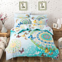 Wholesale Animal Bedspreads - Wholesale- 4PCS 100% Cotton bed linen 3d butterfly bedding sets colorful duvet cover king queen twin size bedspread blue green bed cover