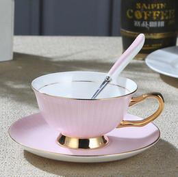 Wholesale Porcelain Cup Saucer Set - European Royal Mug Bone China Gold Coffee Cup And Saucer Ceramic Tea Mug Tray Set Advanced Porcelain Mug Drinkware For Gift
