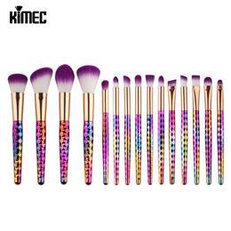 Wholesale Wholesale Brushes Set Cosmetics - 15pcs Pro Color Gradient Makeup Brushes Cosmetic Kits Puff Kabuki Blusher Blending Contour Foundation Powder maquiagem