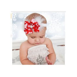 Wholesale Baby Head Bands Feathers - Baby Christmas Crystal Headband Rhinestone Soft Feather White Head Band Snowflake Toddler Newborn Hair Accessories For Girl