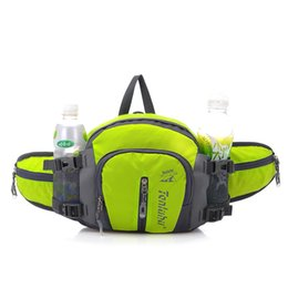 Wholesale Running Water Bottle Belt - Wholesale- 12L Unisex Waterproof Nylon Running Waist Bags with Bottle of Water Women Running Waist Belt Tactical Sport Bag for girl bicycle