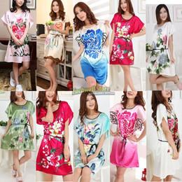 Wholesale Green Ladies Pajamas - Wholesale- Short Sleeve Floral Sexy Plus Size Women Silk Robe Lady Girl Silk Pajamas Housecoat Nightgowns Loungewear Sleepwear