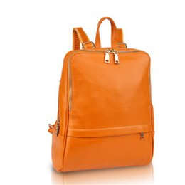 Wholesale- New arrival women backpack genuine leather women bags designer  casual real leather laptop backpack solid female trave bag 87febe936d