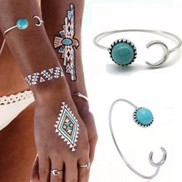 Wholesale Textures Silver Jewelry - Hot sale Bohemian jewelry fashion official website with the turquoise fine texture of the moon bracelet bangle jewelry