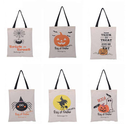 Wholesale Wholesale Pattern Bags - Halloween Gifts Sack Bag Large Folding Portable Container Trick Or Treat Spider Pumpkin Pattern Bags 100% Pure Cotton Canvas 6 6R