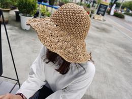 Wholesale Beach Hood - Handmade Crochet Ladies Hats Big Cap Hooded Beach women Cap Seaside Holiday Simple Sunshade Sun Hood
