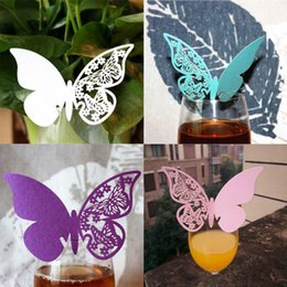 Wholesale Paper Disposable Cups Cute - Wholesale-50pcs lot Butterfly Wine Glass Cup Cute Paper Card for Wedding Party Chirtmas Home Decorations Blue White Pink Purple Name Cards
