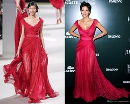 Wholesale Elie Saab Cocktail Dresses - Elie Saab 2017 New Fashion Halle Berry CDGA Red Carpet Party Dresses See Through with Lace Deep V Neck Sexy Evening Pageant Celebrity Gowns