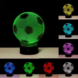 Wholesale Ball Light Table Lamp - Creative 3D Soccer Ball Light Football RGB Colors Changing Visual Led Night Light Novelty Table Lamps Created LED Christmas Child Toy Gifts
